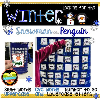 Where is the snowman? Penguin? Pocket Chart Bundle