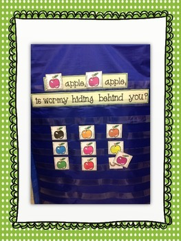 """Where is wormy?"" identify colored apples pocket chart activity"