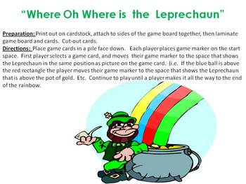Where oh Where is the Leprechaun - a positional word board game