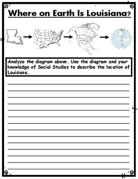 Where on Earth Is Louisiana? Diagram & Assessment with CR Writing Task