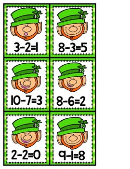 Where's My Gold Kindergarten Picture Subtraction St. Patrick's Day