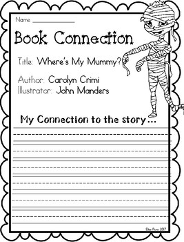 Where's My Mummy? Writing Response Sheets Freebie