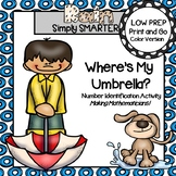 Where's My Umbrella?:  Low Prep April Showers Number Identification Activity