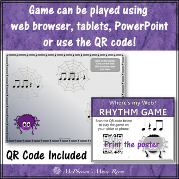 Where's My Web? Interactive Rhythm Game (Eighth Notes with Quarter Rests)