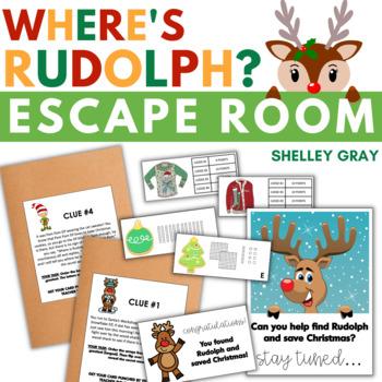 Where's Rudolph?   Math Escape Room   December Math Escape Activity