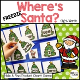 Where's Santa? Hide & Find Sight Word Pocket Chart Game FREE