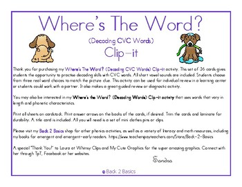 Where's The Word? Clip-it - Decoding CVC Words - Decoding Skills - Phonics Skill