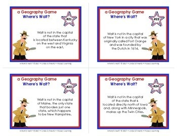 U.S. CAPITALS • Where's Walt? • U.S. State Capitals Detective Game • Grades 4–6