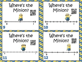 Where's the Minion?  Finding Fractions on a Number Line Task Cards with QR Codes