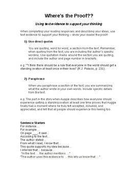 Where's the Proof? Citing Text Evidence - Reading Response Student Note