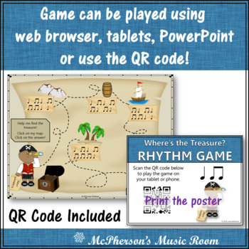Music Game: Eighth Notes/Quarter Notes Interactive Rhythm Game {Treasure}