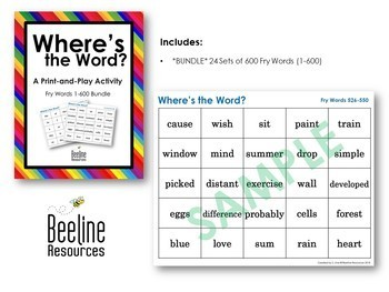 Where's the Word? **24 SET BUNDLE** / Fry Words 1-600 Print-and-Play