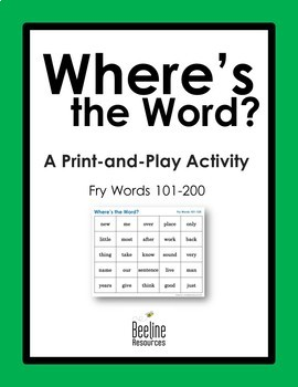 Where's the Word? *4 Sets* / Fry Words 101-200 Print-and-Play