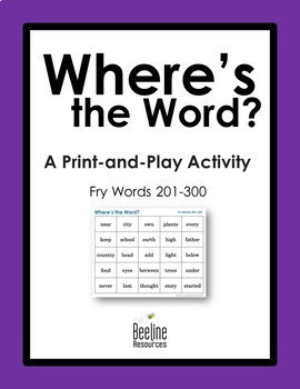 Where's the Word? *4 Sets* / Fry Words 201-300 Print-and-Play