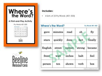 Where's the Word? *4 Sets* / Fry Words 401-500 Print-and-Play