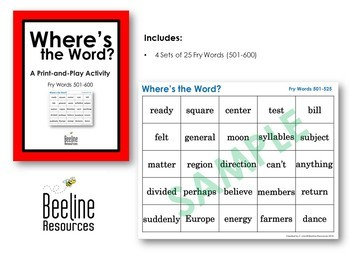 Where's the Word? *4 Sets* / Fry Words 501-600 Print-and-Play