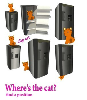 Where's the cat? Find a position (illustration between cats and fridges)