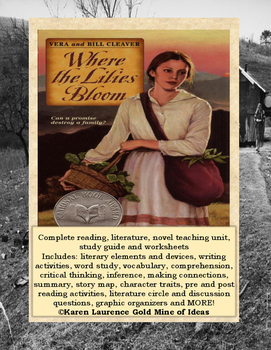 Where the Lilies Bloom by Cleaver ELA Novel Literature Study Guide COMPLETE