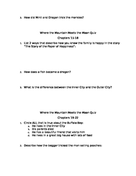Where the Mountain Meets the Moon Chapter Quizzes