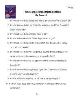 Where the Mountain Meets the Moon by Grace Lin, Battle of the Books Questions