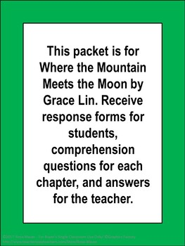 Where the Mountain Meets the Moon by Grace Lin Novel Study