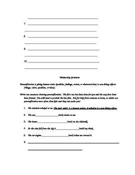 Where the Mountain Meets the Moon week 2, chapters 1-5 grammar packet