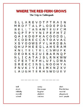 Where the Red Fern Grows: 4 Novel-Based Word Searches—Unique!