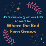 Where the Red Fern Grows - 45 Discussion Questions AND Answers