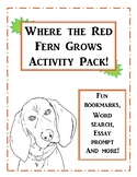 Where the Red Fern Grows Activity Pack! Bring the Book to Life!