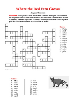 Where the Red Fern Grows: Anagram Crossword—Unique Spelling Workout!