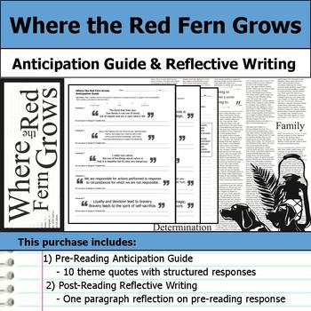 Where the Red Fern Grows - Anticipation Guide & Reflection