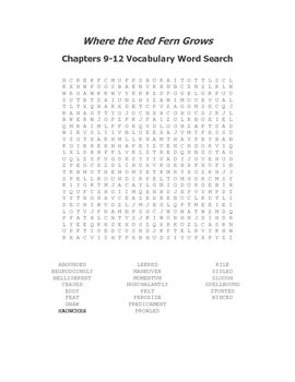 Where the Red Fern Grows Ch. 9-12 Vocabulary Word Search - Rawls
