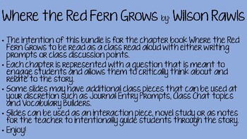 Where the Red Fern Grows Chapter Prompts
