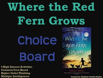 Where the Red Fern Grows Choice Board Novel Study Activities Menu Book Project