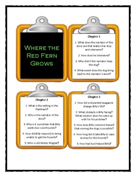 WHERE THE RED FERN GROWS by Wilson Rawls  - Discussion Cards