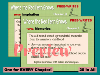 Where the Red Fern Grows - Free-Writes Journal-style Writing Prompts