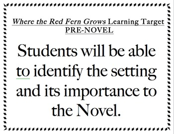 Where the Red Fern Grows Learning Targets