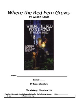 Where the Red Fern Grows Novel Packet