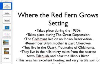 Where the Red Fern Grows Novel PowerPoint Keynote Slide Deck Setting and More