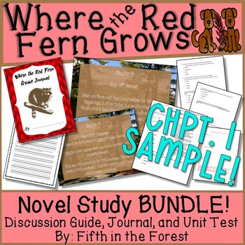 Where the Red Fern Grows Novel Study BUNDLE Chpts 1 and 2 FREEBIE