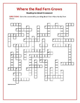Where the Red Fern Grows: Reading-for-Detail Crossword: Novel-Based!