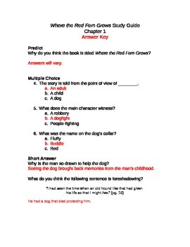Where the Red Fern Grows Study Guide Sample
