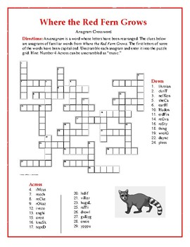 Where the Red Fern Grows: Synonym/Antonym Crossword—Unique!