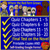 Where the Red Fern Grows Quiz and Test Bundle Common Core Aligned