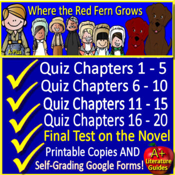 Where the Red Fern Grows Novel Study Quiz and Test Bundle