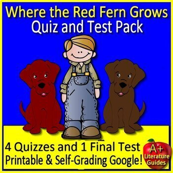 Where the Red Fern Grows Novel Study Print AND Google Ready with self-Grading
