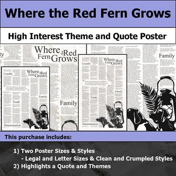 Where the Red Fern Grows - Visual Theme and Quote Poster for Bulletin Boards