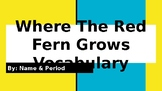 Where the Red Fern Grows Vocabulary