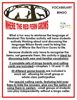 Where the Red Fern Grows Vocabulary Bingo