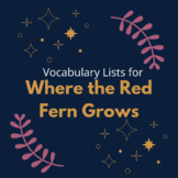 Where the Red Fern Grows Vocabulary Lists